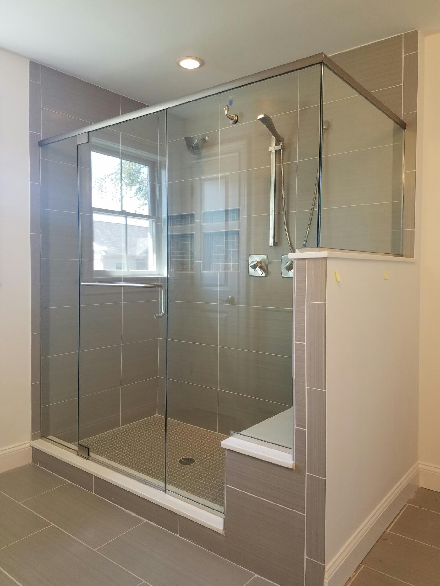 in alcove door x hinged nickel doors semi shdr to frameless shower p plus dreamline brushed unidoor