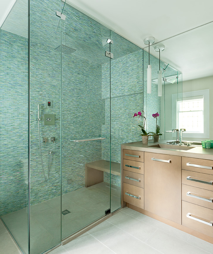 Modern Bathroom with Walk-In Frameless Shower Enclosure ...