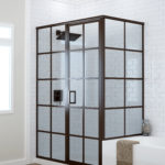 Metropolis Series™ Fully Framed Shower Doors Grid Pattern